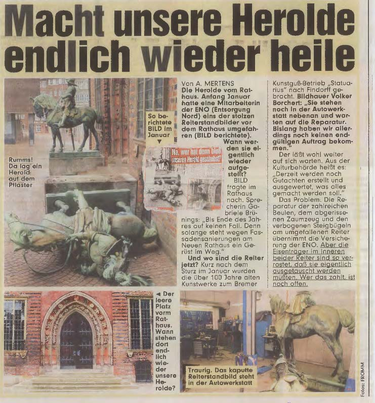 Bronzeskulptur Herolde Rathaus Bremen