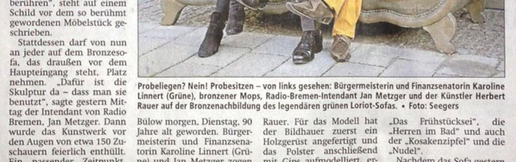 Pressebericht Ein Denkmal für Loriot, Kreiszeitung