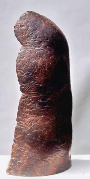 Bronzeskulptur Kaufhold mit anspruchsvoller Oberflächenstruktur, Patina geglüht, Wachsausschmelzverfahren